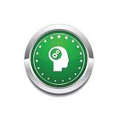 Gear Green Vector Icon Button