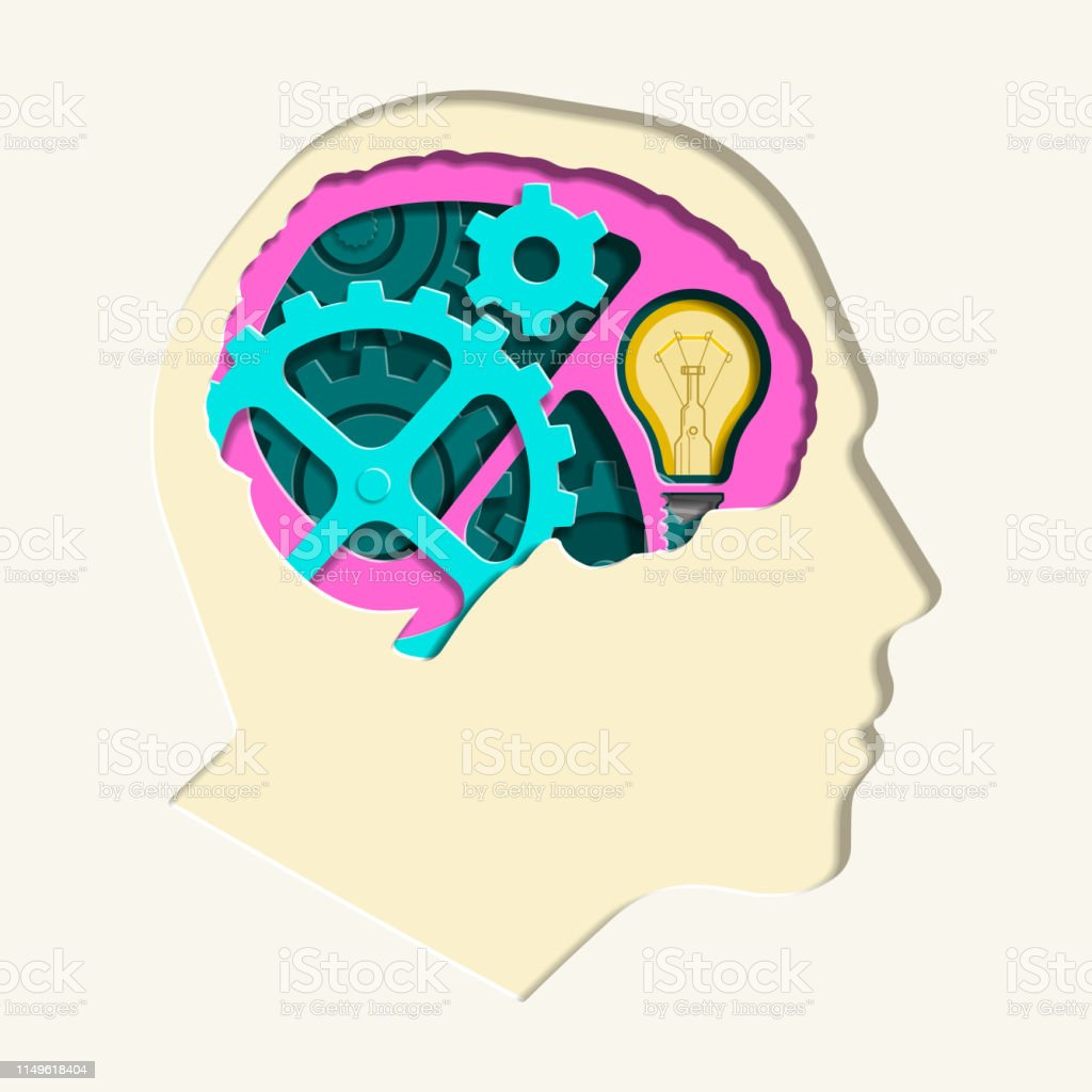 Paper Cut Out Vector Illustration of a Man's Head with Internal Gears...