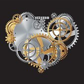 vector illustration of gear in heart