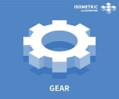 Gear icon. Isometric template for web design in flat 3D style. Vector illustration.