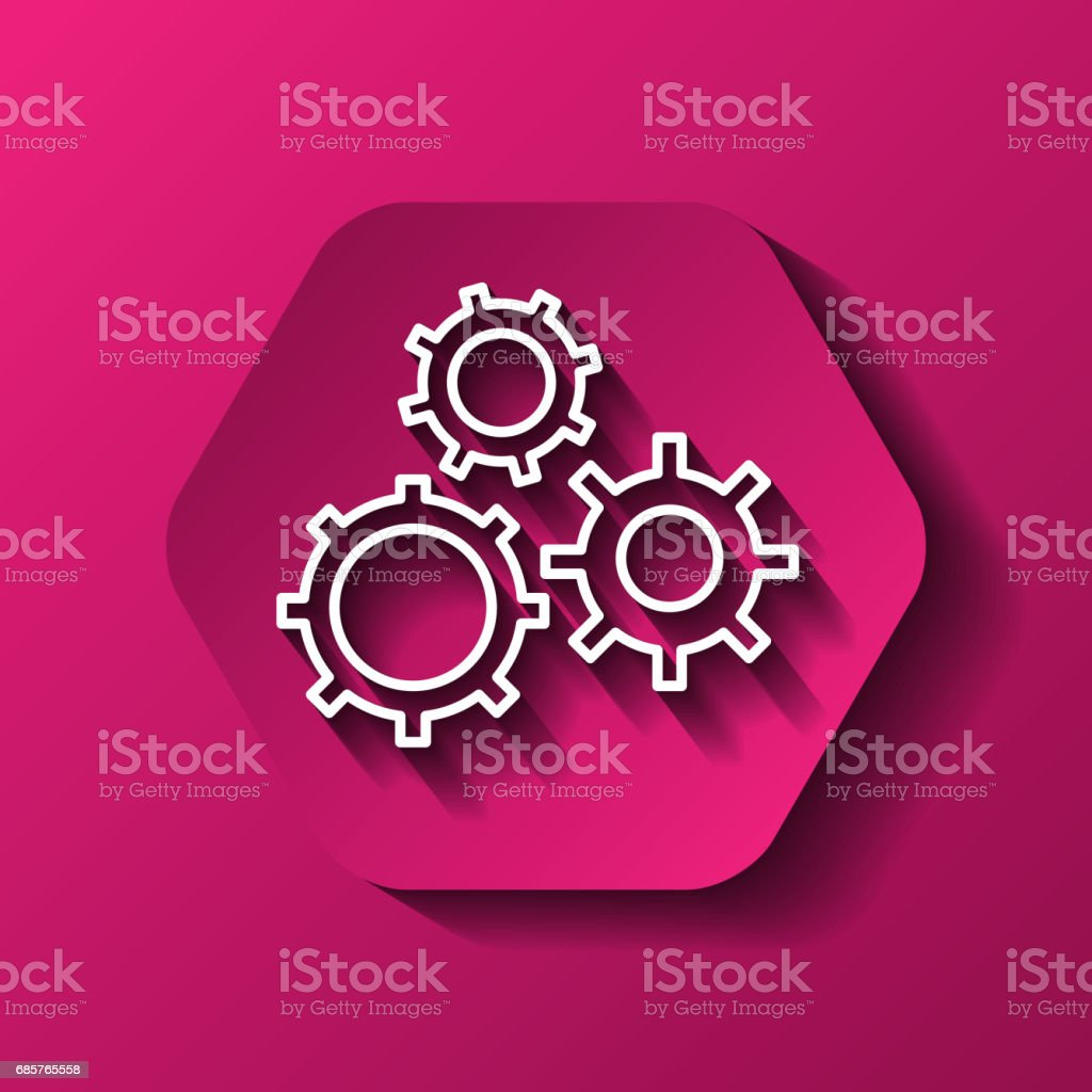 Gear icon. Machine part design over hexagon. Vector graphic royalty-free gear icon machine part design over hexagon vector graphic stock vector art & more images of business finance and industry