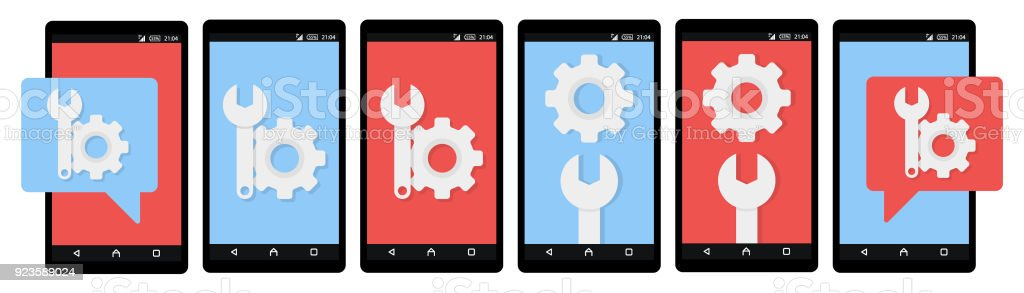 Gear icon on smartphone screen. Fix, maintenance, mobile phone repair service concept for web banner, web site, info graphics. Flat design vector illustration vector art illustration