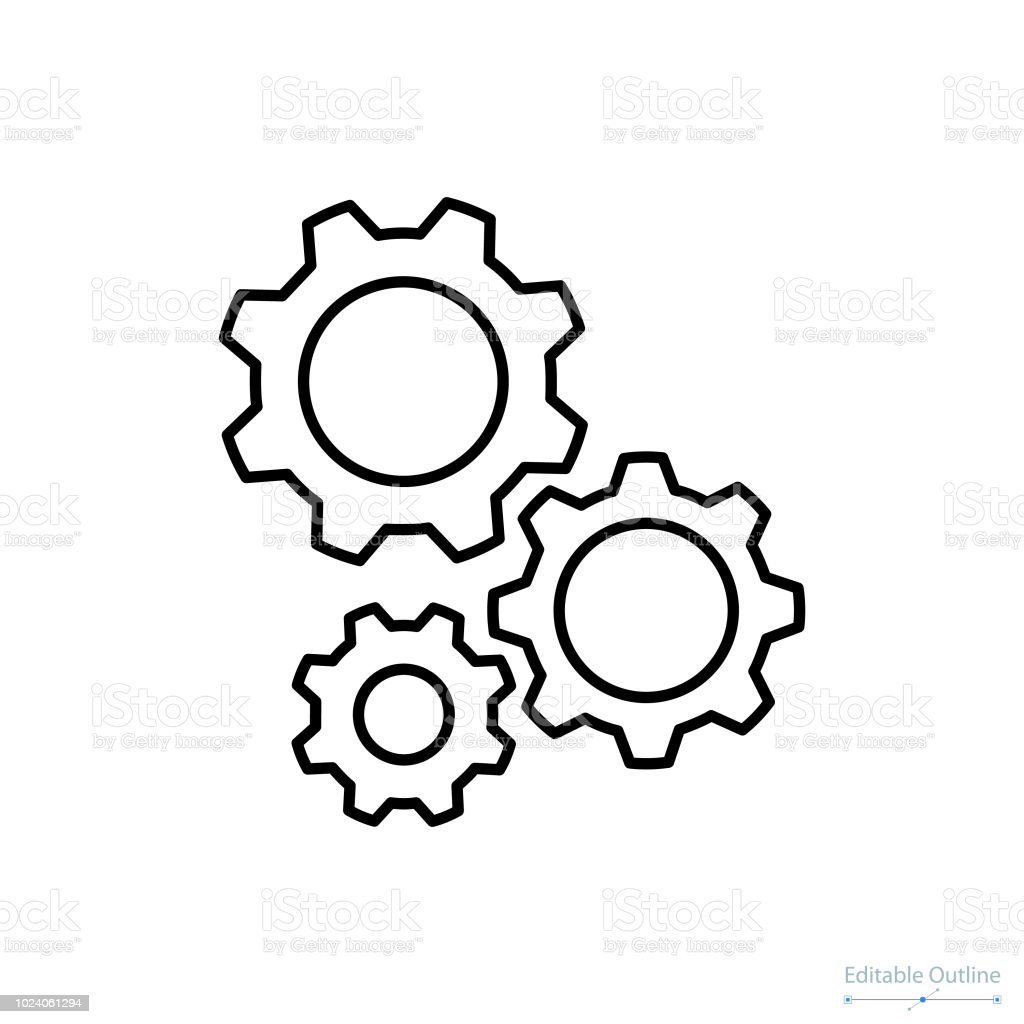 Gear icon, Outline icon, Business services, Technical help, Gear, Configuration, Support center royalty-free gear icon outline icon business services technical help gear configuration support center stock illustration - download image now