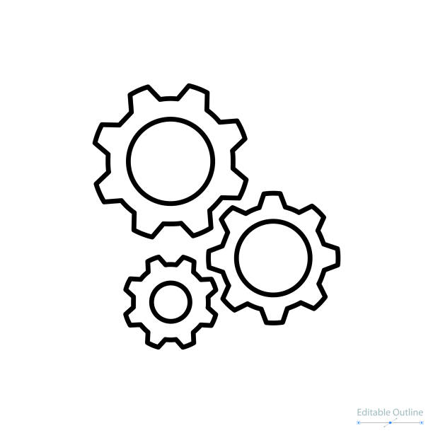 ilustrações de stock, clip art, desenhos animados e ícones de gear icon, outline icon, business services, technical help, gear, configuration, support center - cenário