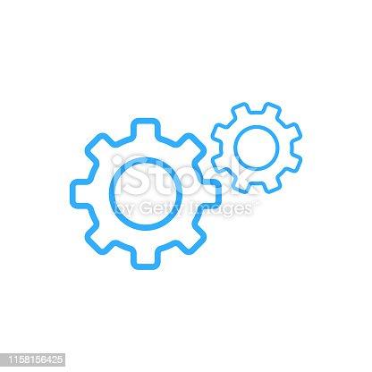 gear icon outline vector blue color