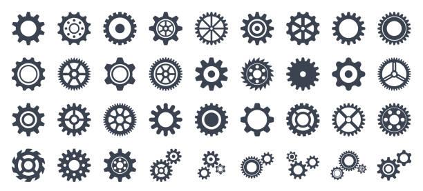 ilustrações, clipart, desenhos animados e ícones de conjunto de ícones de engrenagem - coleção vetorial de engrenagens - equipamento