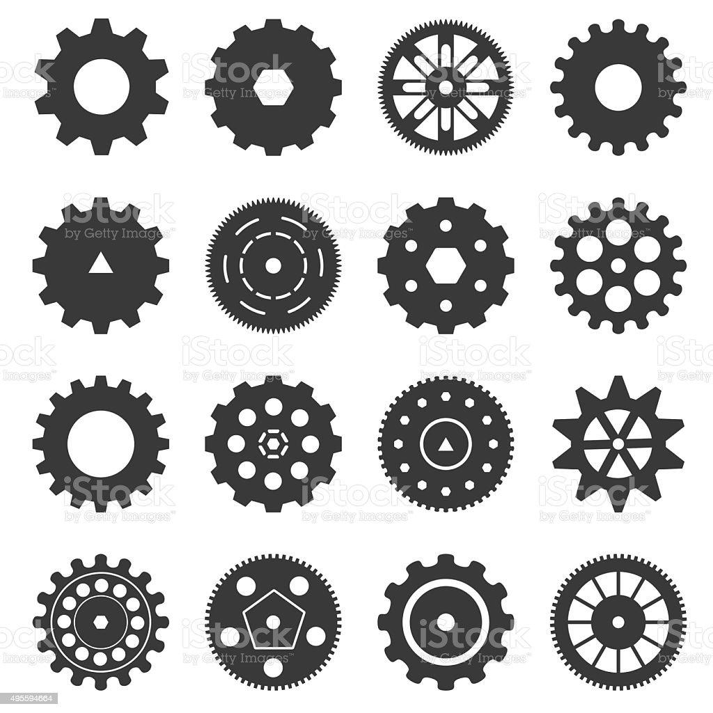 Gear icon set vector art illustration