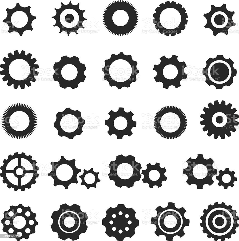 Gear Icon Set Stock Vector Art & More Images of Abstract ...