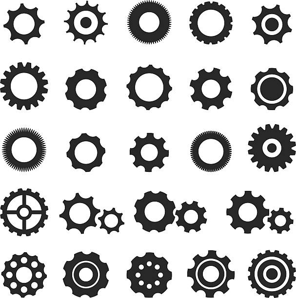 Gear icon set Gear icon set gearshift stock illustrations