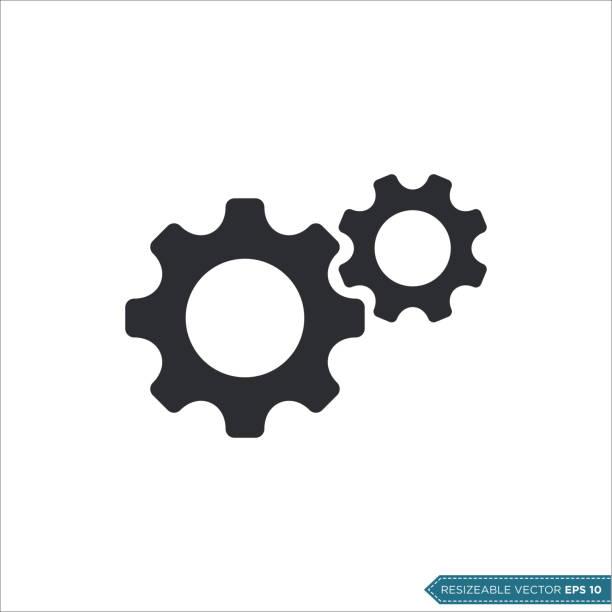 illustrazioni stock, clip art, cartoni animati e icone di tendenza di modello vettoriale icona ingranaggio, design piatto ingegneria illustrazione a ruota dentata design - attrezzatura