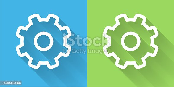 Gear Icon with Long Shadow. The icon is on Blue Green Background with Long Shadow. There are two background color variations included in this file. The icon is rendered in white color and the background is blue or green. There is also a 45 degree long shadow.