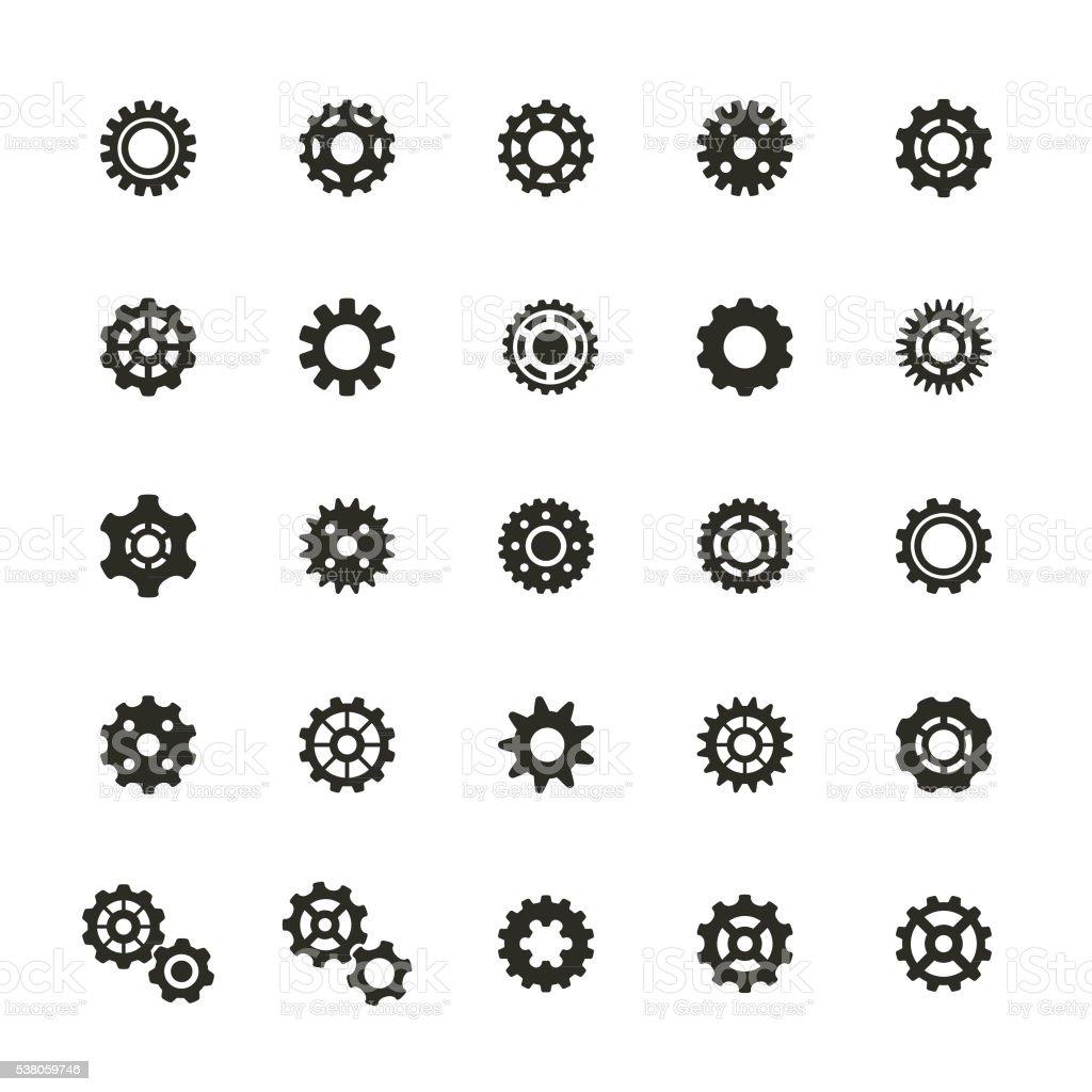 Gear Icons Set vector art illustration