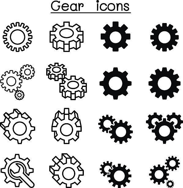 Gear icons Gear icons gearshift stock illustrations