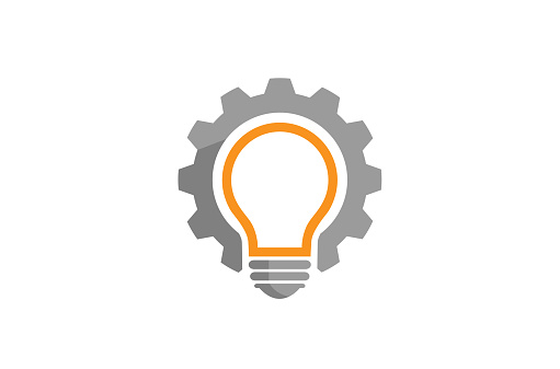 Gear Idea Bulb Lamp Logo