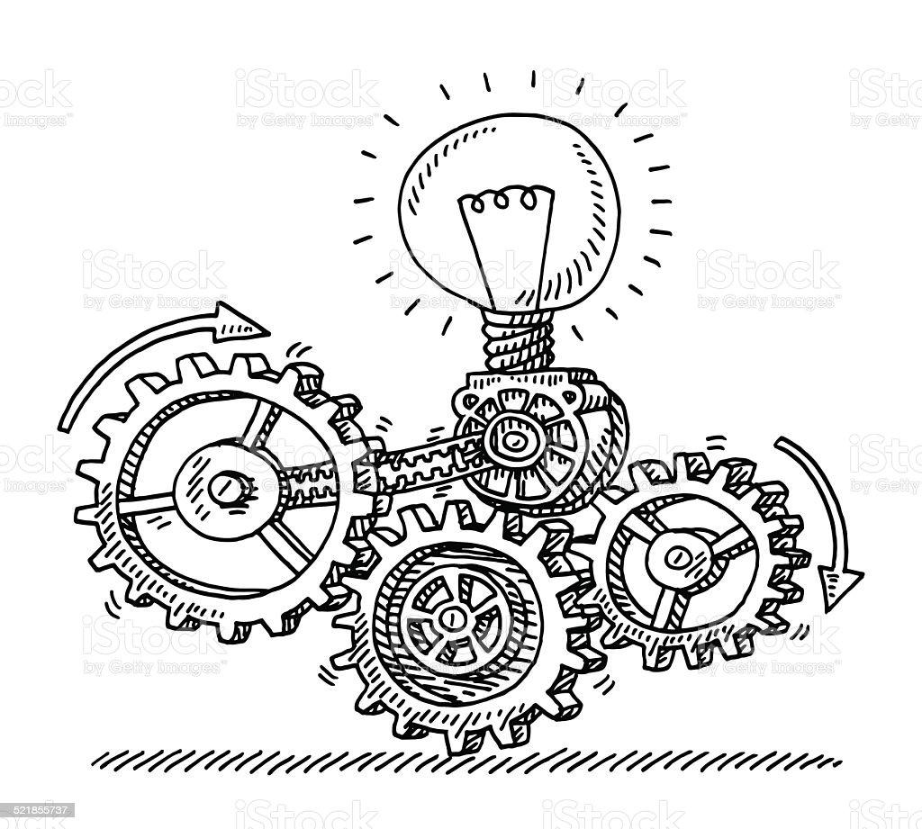 Gear Machine Idea Generator Drawing vector art illustration