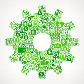 Gear  Money and Finance Green Vector Icon Background