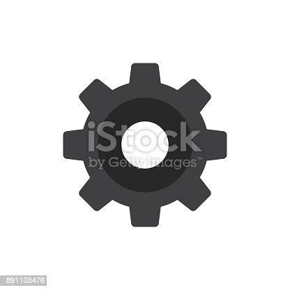 Gear or cog symbol on white background, settings icon, vector illustration