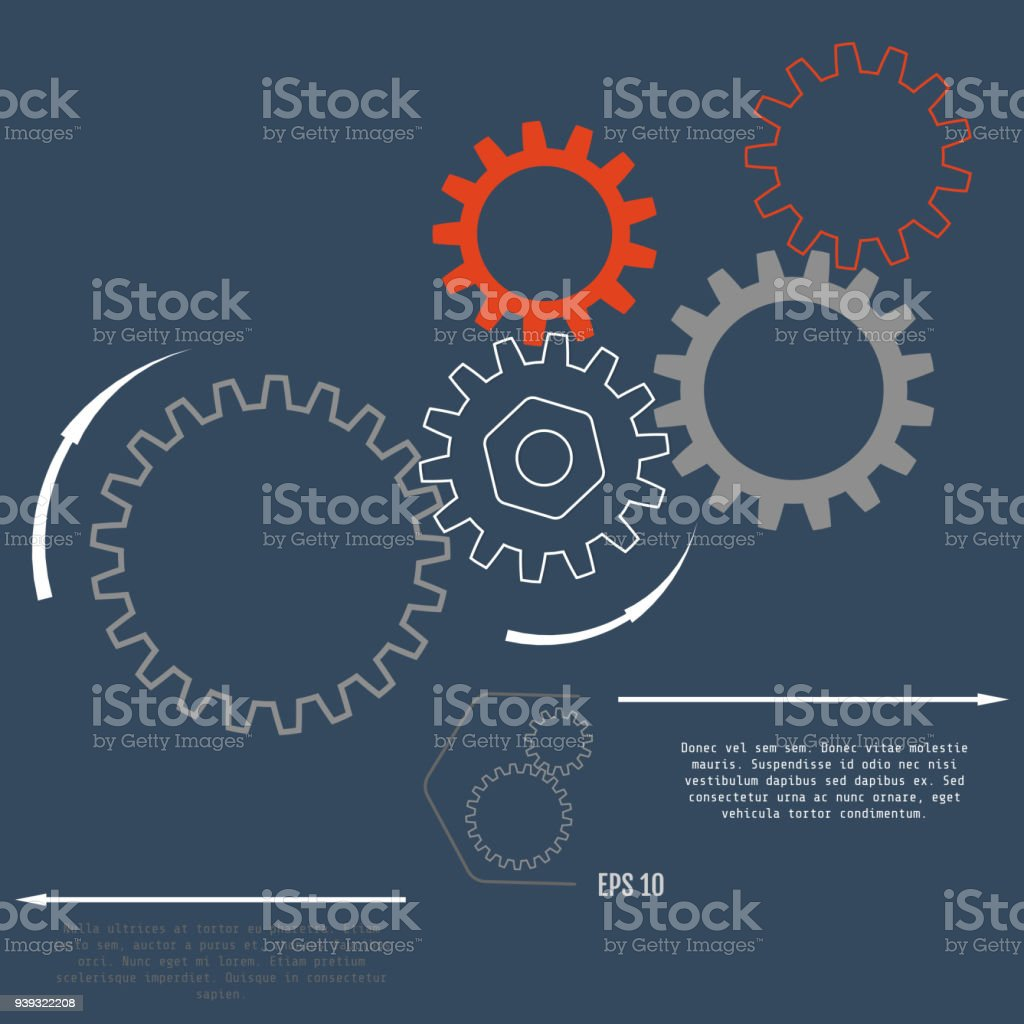 Gear relationship for business concepts, info-graphic, advertising printing, website, modern template, education template, business brochure or system diagram. Vector illustration vector art illustration