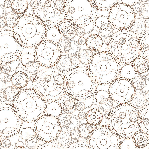 Gear seamless pattern vector art illustration