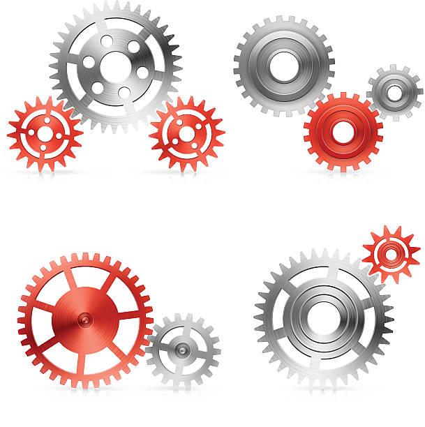 Gear set in red vector art illustration