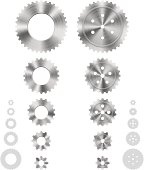 Vector illustration of different gears in 5 sizes. You can easy collect the different composition of the gears, because the teeth are scaled in proportion.
