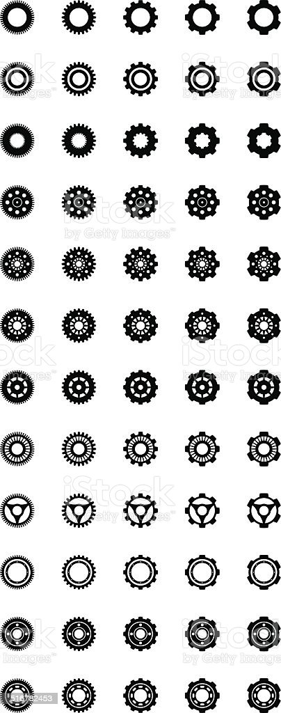 Gear Silhouette Pack, 60 Gears vector art illustration