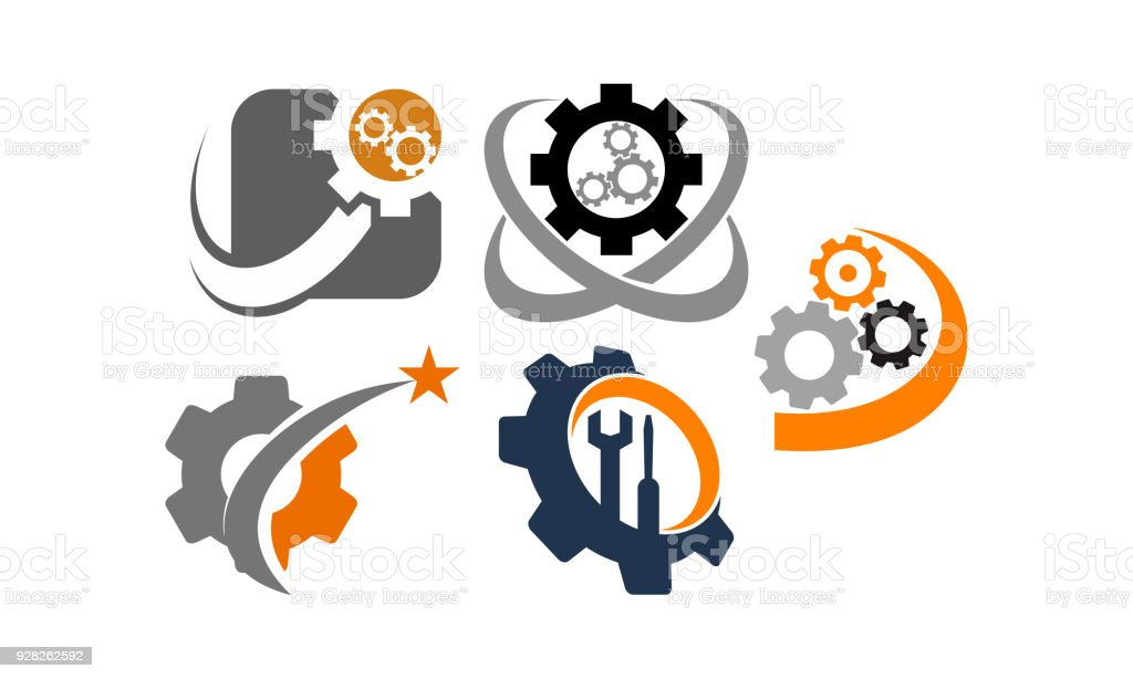gear template icon set stock vector art more images of biological