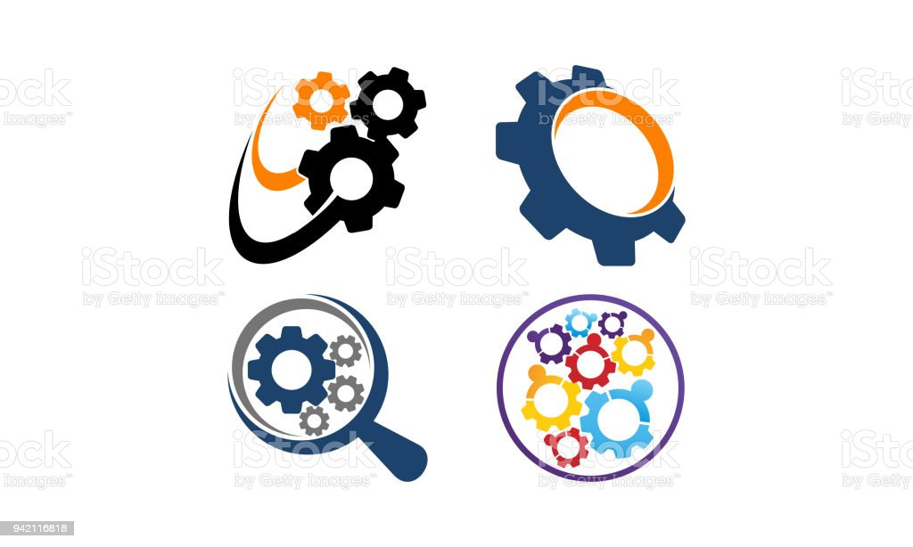 Gear Template Icon Set Stock Vector Art & More Images of Biological ...