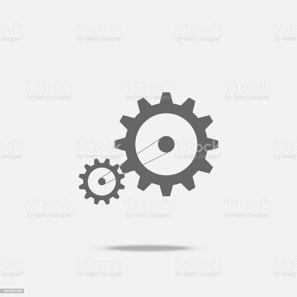 Gear transmission mechanical belt conveyor flat design vector icon with shadow vector art illustration