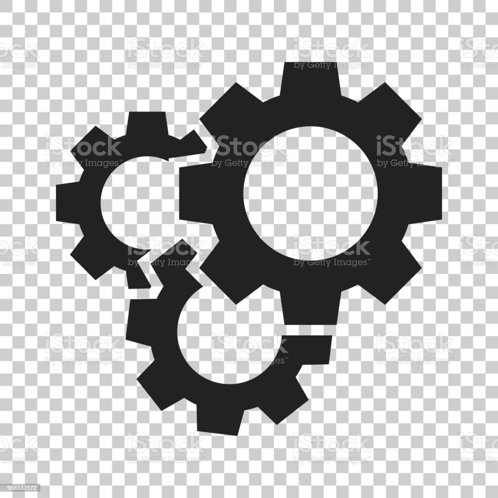 Gear vector icon in flat style. Cog wheel illustration on isolated transparent background. Gearwheel cogwheel business concept. royalty-free gear vector icon in flat style cog wheel illustration on isolated transparent background gearwheel cogwheel business concept stock illustration - download image now