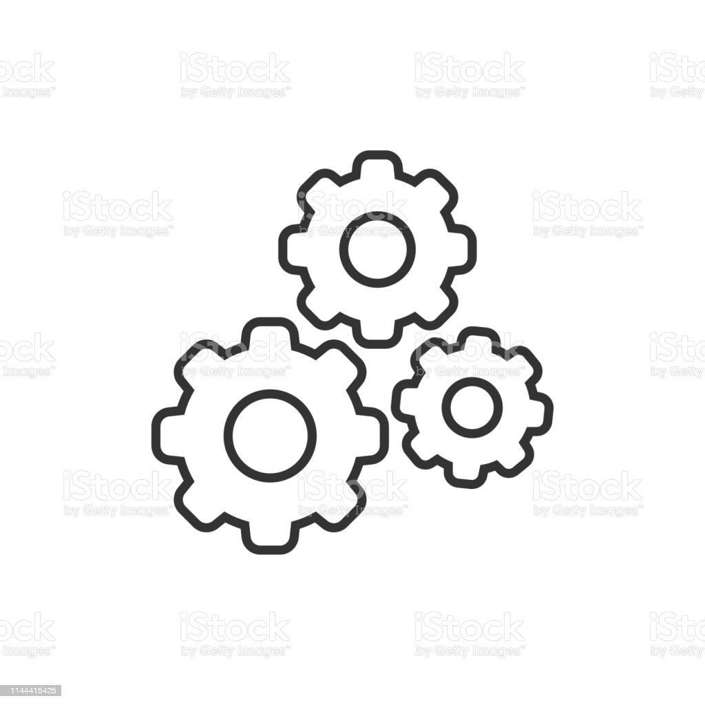 Gear Vector Icon In Flat Style Cog Wheel Illustration On ...
