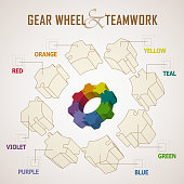 Differences color in part of gear wheel with outline model to express team spirit.