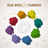 Gear wheel separate in eight piece of puzzle, teamwork concept graphic elements.