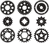 Vector set of bike chainrings and rear sprocket silhouettes
