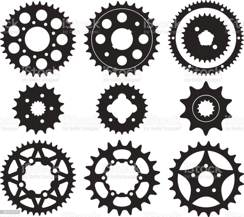Conjunto de iconos de rueda de engranaje - ilustración de arte vectorial
