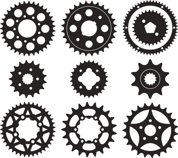Gear wheel icons set Vector set of bike chainrings and rear sprocket silhouettes bicycle chain stock illustrations