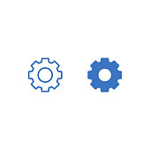 Gear wheel or gear outline and flat icon isolated on white background