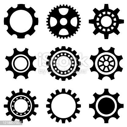 Gear wheel set. Vector. Icon set