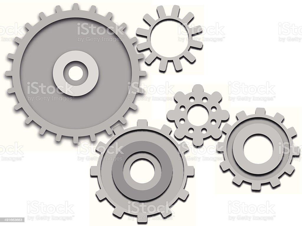 Gear wheel set vector art illustration