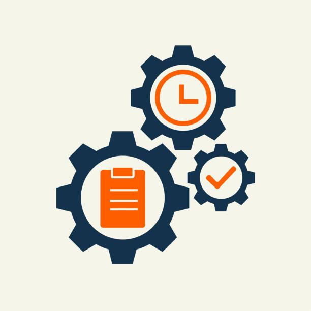 illustrazioni stock, clip art, cartoni animati e icone di tendenza di gear wheell with task sign vector illustration. vector icon - uniforme