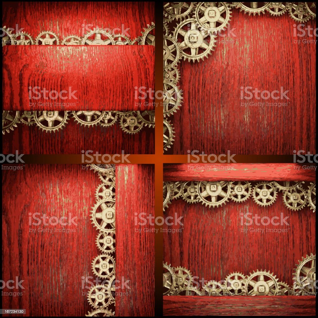 gear wheels on red wood background royalty-free gear wheels on red wood background stock vector art & more images of alloy