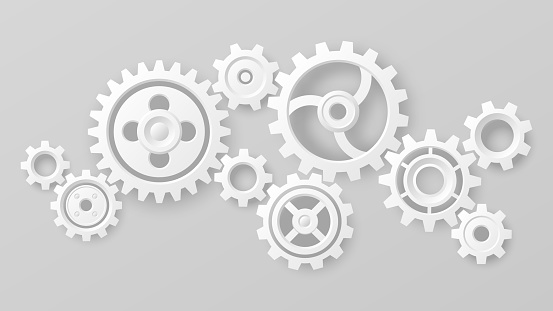 Gear wheels. Realistic 3d white cogs and gears mechanism. Teamwork cooperation machine symbolism. Engineering and technology vector concept