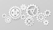 istock Gear wheels. Realistic 3d white cogs and gears mechanism. Teamwork cooperation machine symbolism. Engineering and technology vector concept 1292897543