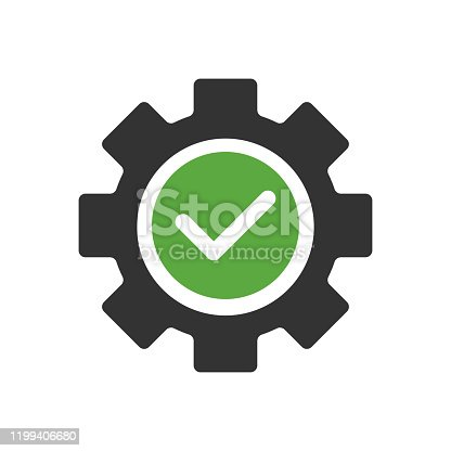 Gear with checkmark icon design on white background. Vector illustration.