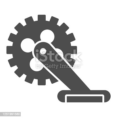 istock Gear with pedal solid icon, bicycle concept, Bicycle crank sign on white background, Bicycle pedal icon in glyph style for mobile concept and web design. Vector graphics. 1251991580