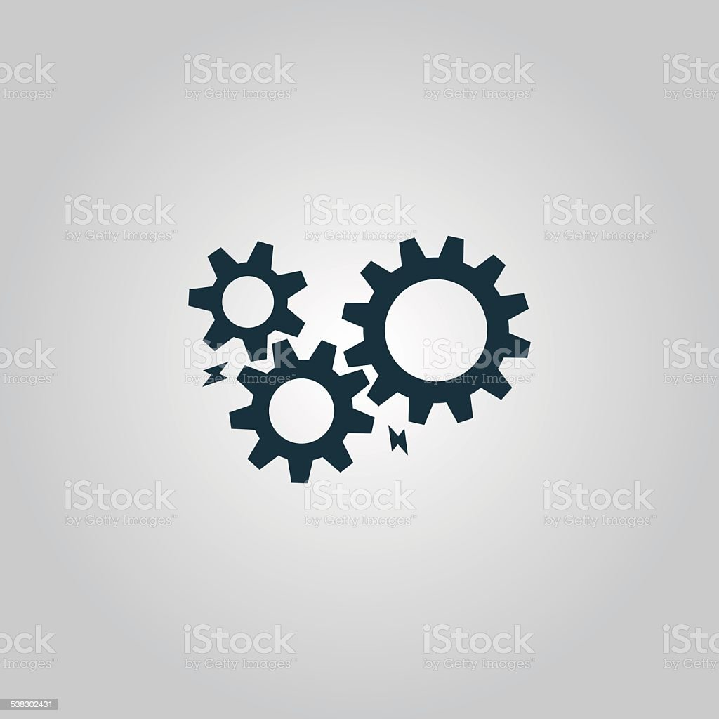 Gear with sparks vector art illustration