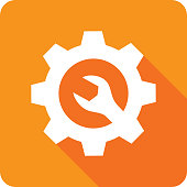 Vector illustration of an orange gear icon with wrench in flat style.