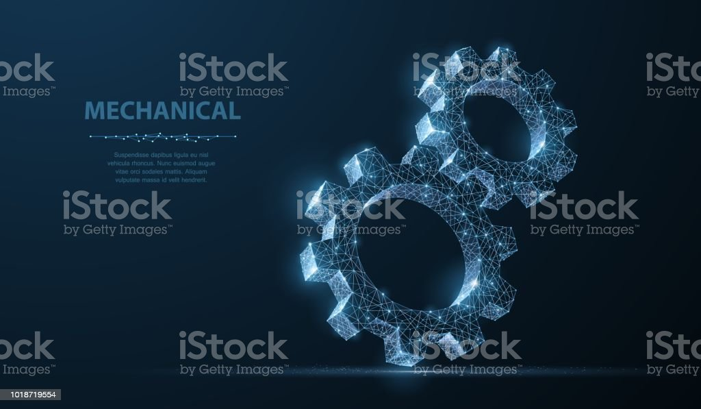 Gears. Abstract vector wireframe two gear 3d modern illustration on dark blue background. royalty-free gears abstract vector wireframe two gear 3d modern illustration on dark blue background stock illustration - download image now