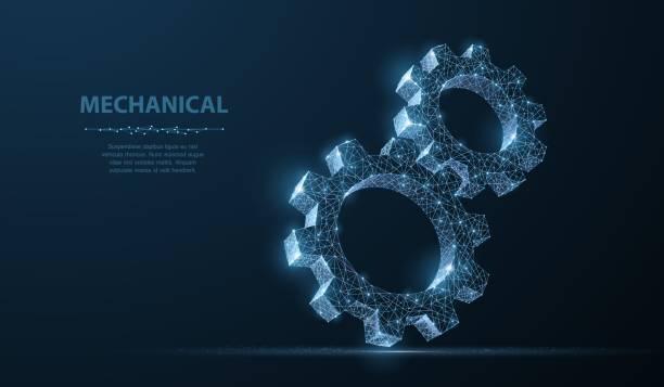 zahnräder. abstrakte wireframe zwei getriebe 3d moderne vektorgrafik auf dunkelblauem hintergrund. - maschinenteil ausrüstung und geräte stock-grafiken, -clipart, -cartoons und -symbole