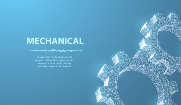 Gears. Abstract vector wireframe two gear 3d modern illustration on blue background. vector art illustration